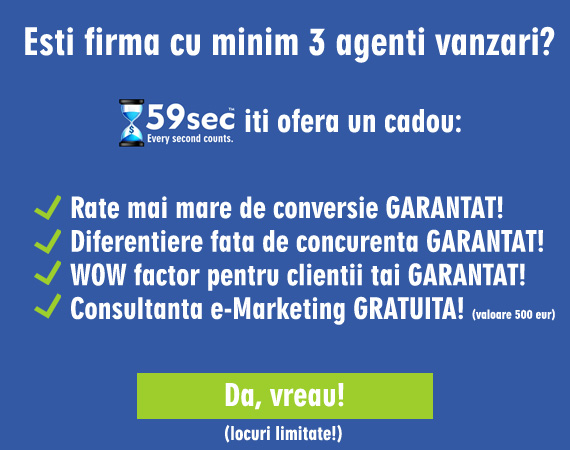 Cadoul 59sec pentru companii cu minim 3 agenti vanzari